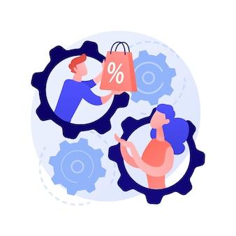 Persoonlijke verkoopmethode. gepersonaliseerd winkelen, verkoopassistent en kopersamenwerking, verkooppromotie. gepersonaliseerde marketingstrategie.