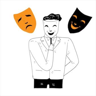 Persoonlijkheidsconcept, een man die een masker gebruikt. lachend en huilend gezichtsmasker