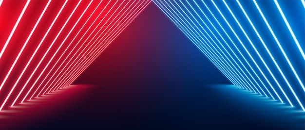 Perspectief neon vloerpodium in rode en blauwe kleur