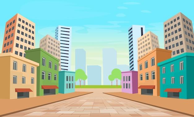 Perspectief straat van de stad met panoramisch uitzicht op de gevels van huizen. gekleurd stadsgezicht.