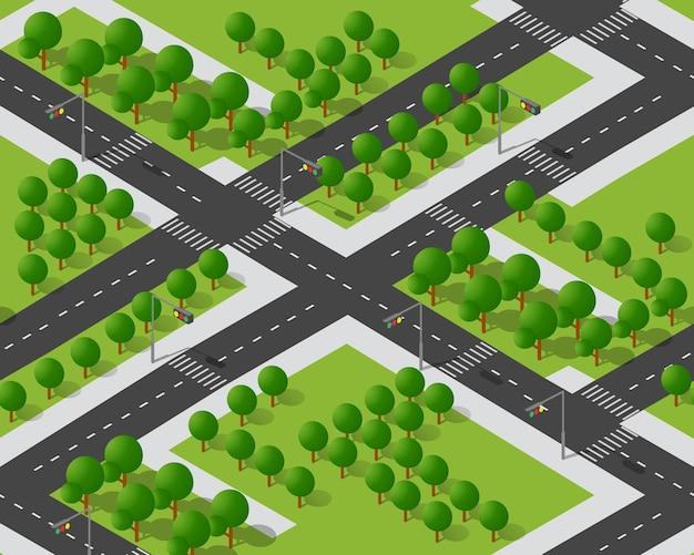Perspectief van bovenaf naar het stadsdeel van het snelwegkruispunt Premium Vector