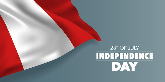 Peru gelukkige onafhankelijkheidsdag groet banner met sjabloontekst