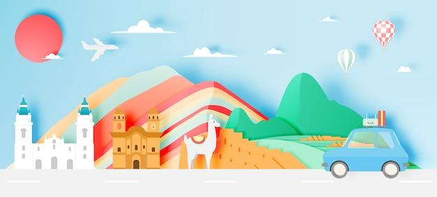 Peru reizen met machu picchu papier kunst met pastel kleurenschema vectorillustratie