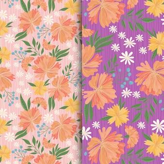 Perzik en witte bloemen tuin patroon