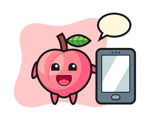 Perzik illustratie cartoon met een smartphone, leuke stijl ontwerp voor t-shirt