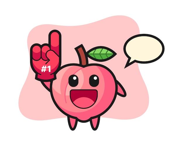 Perzik illustratie cartoon met nummer 1 fans handschoen, schattig stijlontwerp voor t-shirt