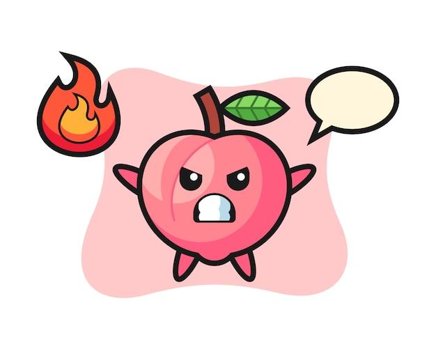 Perzik karakter cartoon met boos gebaar, schattig stijlontwerp voor t-shirt
