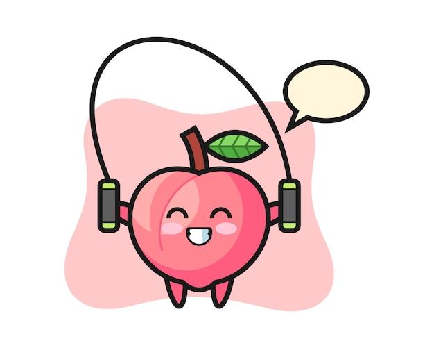 Perzik karakter cartoon met springtouw