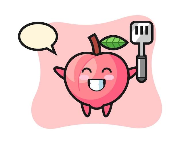 Perzik karakter illustratie als chef-kok kookt, schattig stijlontwerp voor t-shirt