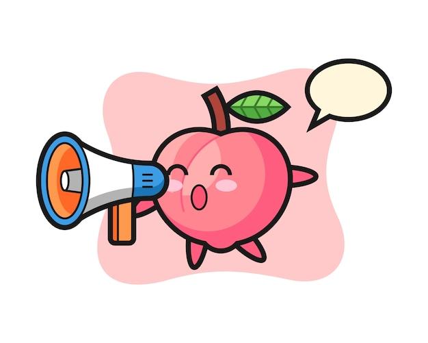 Perzik karakter illustratie met een megafoon, schattig stijlontwerp voor t-shirt