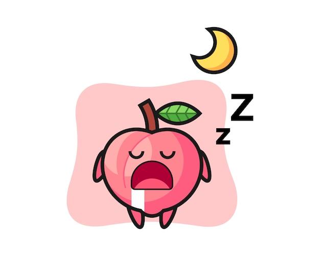 Perzik karakter illustratie slapen 's nachts, leuke stijl ontwerp voor t-shirt