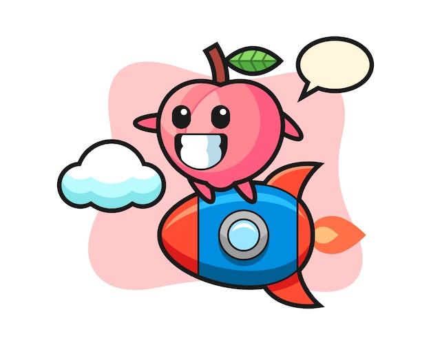 Perzik mascotte karakter rijden op een raket, schattig stijlontwerp voor t-shirt