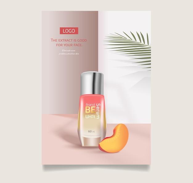 Perzik of abrikoos cosmetica realistische vector achtergrond buis met cosmetische huidverzorging
