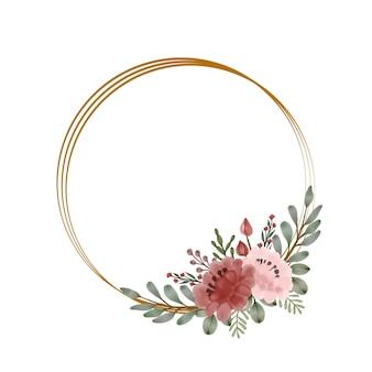 Perzik roos aquarel frame
