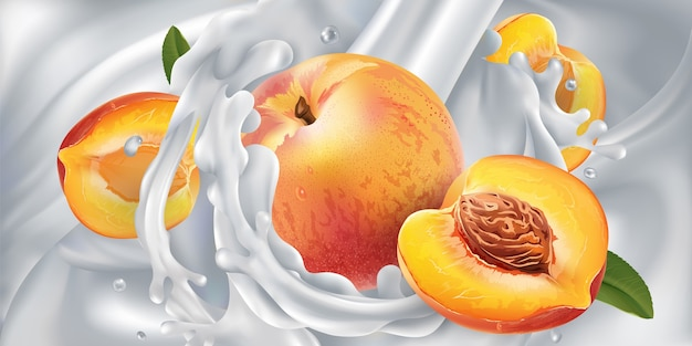 Perziken in een stroom melk of yoghurt.