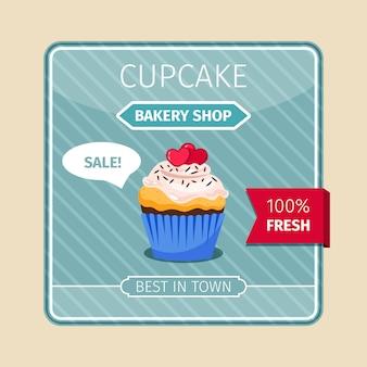 Perzikkleur cupcake met hartenkaart