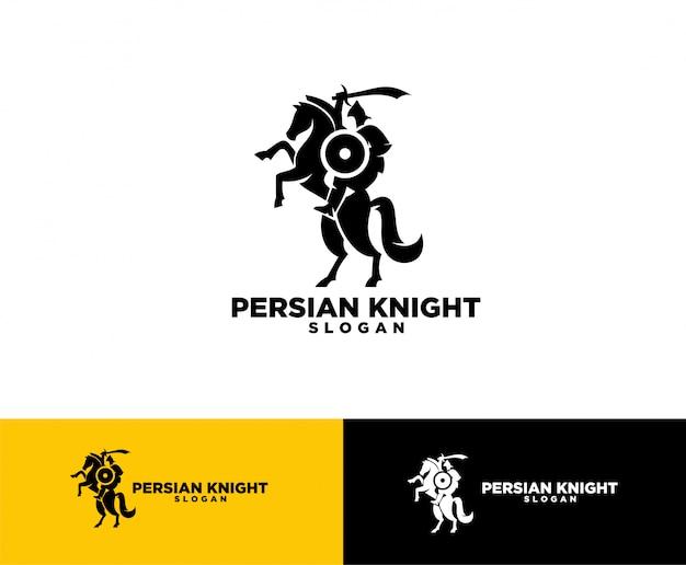 Perzisch ridder symbool logo ontwerp