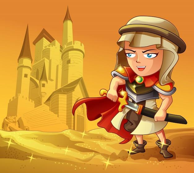 Perzische krijger met kasteel op woestijnachtergrond