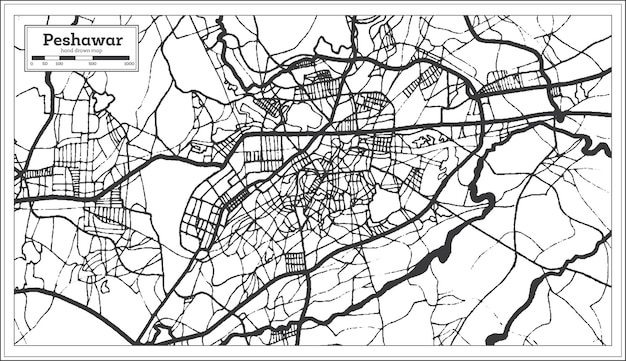 Peshawar pakistan-stadskaart in retrostijl in zwart-witte kleur