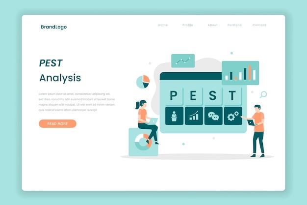Pest-analyse bestemmingspagina-concept illustratie voor bestemmingspagina's van websites