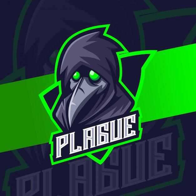 Pest mascotte esport logo ontwerp