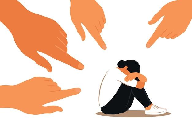 Pesten concept. handen van mensen wijzen naar het meisje. niet-zelfverzekerde vrouw. opinie en de druk van de samenleving. schaamte. vector plat