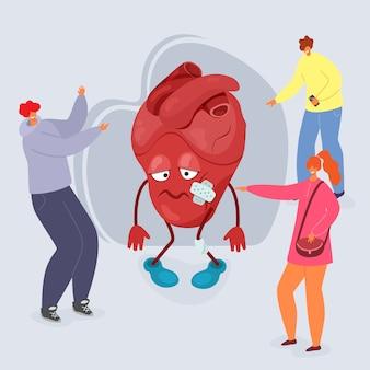 Pesten illustratie, mensen plagen cartoon ongelukkig hart met wonden.