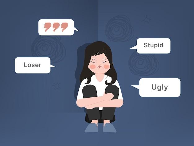 Pesten of vernedering meisje concept