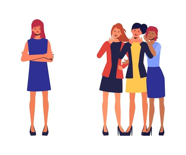 Pesten of vernedering op school of universiteit. jonge boos meisje slachtoffer van spot. vector illustratie in een vlakke stijl.