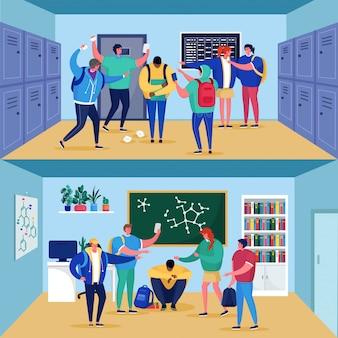 Pesten op school met droevige cuacasian jongenstiener die door klasgenoten in middelbare schoolillustratie wordt gepest.