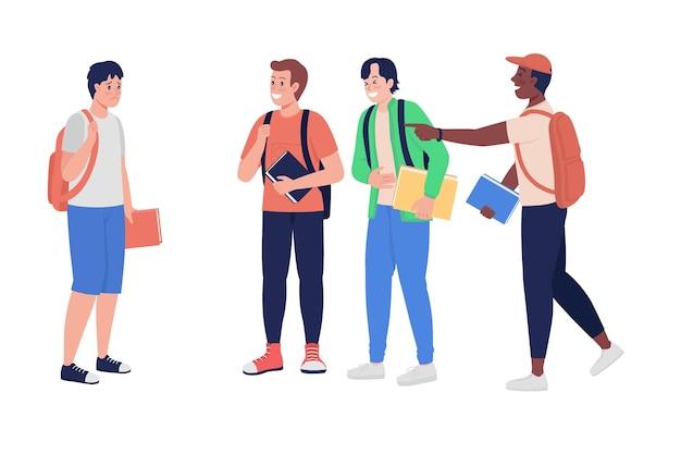 Pesten tiener jongens semi egale kleur vector tekens. staande figuren. volledige lichaamsmensen op wit. tienerproblemen geïsoleerde moderne cartoonstijlillustratie voor grafisch ontwerp en animatie