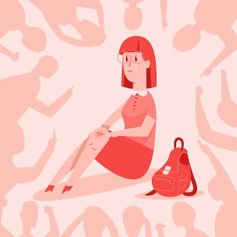 Pesten vector cartoon concept illustratie. tiener meisje huilt van beledigingen over haar. demonstratie van intimidatie en agressie van schooljongeren jegens ander kind.