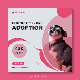 Pet adoptie vierkante banner social media ontwerp of huisdier zorg vierkante flyer sjabloon
