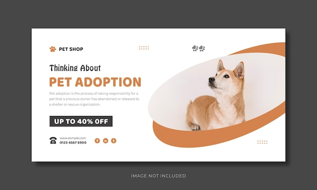 Pet care social media voorbladsjabloon of huisdier adoptie facebook banner ontwerp.