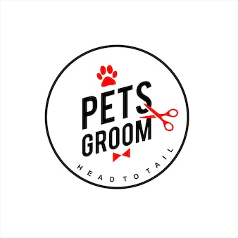 Pet groom logo veterinary care badge
