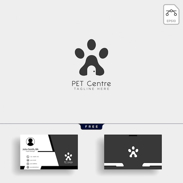 Pet home of winkel creatieve logo sjabloon met visitekaartje