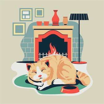Pet kitten slapen op ovale tapijt tapijt mat bij open haard
