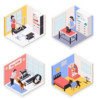 Pet services concept 4 isometrische composities met hondengymnastiek trimsalon dierenarts kinderdagverblijf