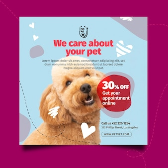 Pet veterinaire vierkante flyer-sjabloon