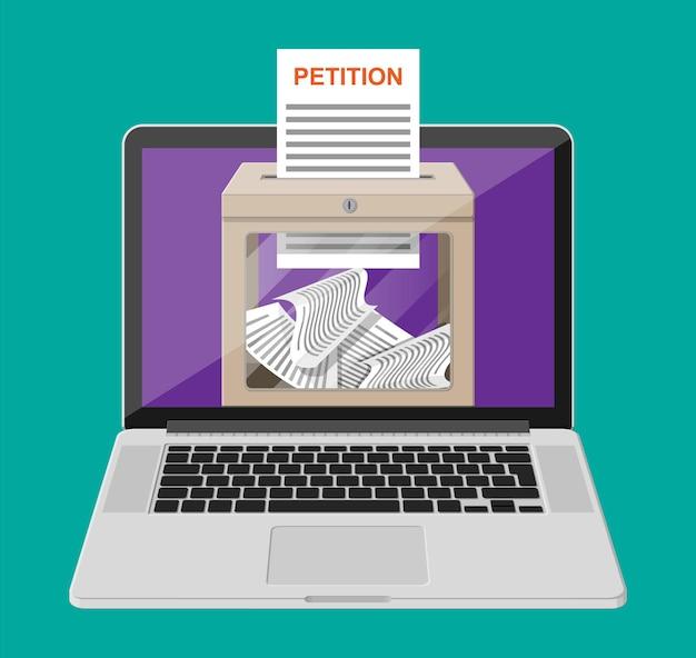 Petitie box, document op laptop scherm. teken online petitie. concept van verandering via internet. vectorillustratie in vlakke stijl