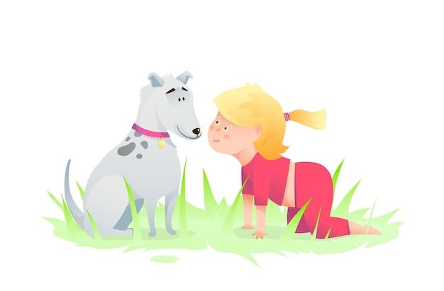 Peuter glimlachend jongen meisje en hond vriend humoristische karakters puppy en een kind kruipen spelen.
