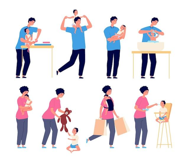 Peuter in familie. moeder met baby, vader die voor kind zorgt. ouders spelen wassen voeden knuffelen zoon of dochter vectorillustratie. moederzorg, ouder en kind, vader en moeder