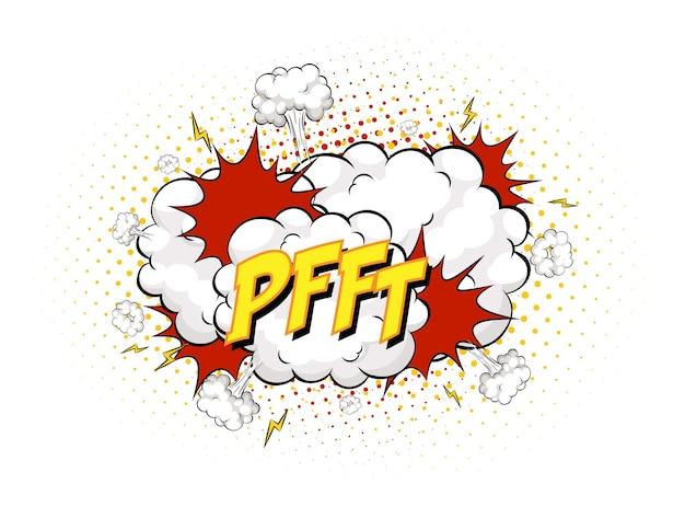 Pfft-tekst op komische wolksexplosie die op witte achtergrond wordt geïsoleerd