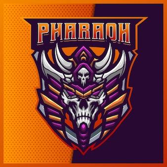 Pharaoh skull esport en sport mascotte logo-ontwerp met moderne illustratie. egypte schedel illustratie Premium Vector