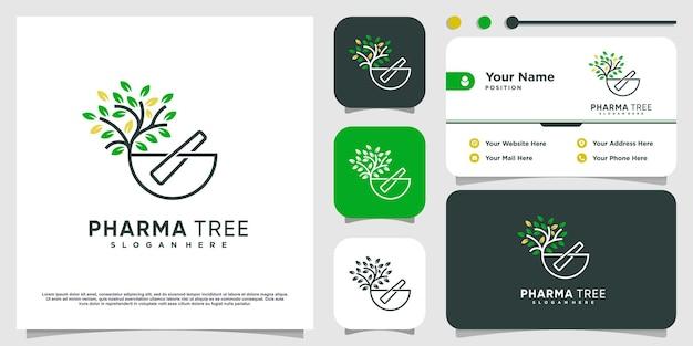 Pharma tree-logo met creatief concept premium vector