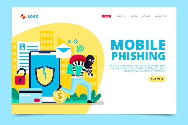 Phishing-account bestemmingspagina concept
