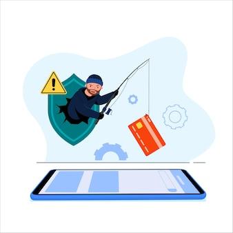 Phishing illustratie. hacker steelt een creditcard uit een app. cybercriminaliteit