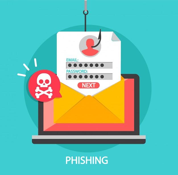 Phishing-login en wachtwoord op vishaak