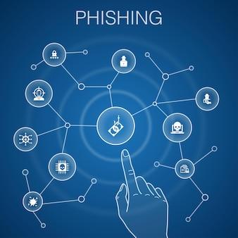 Phishingconcept, blauwe background.attack, hacker, cybercriminaliteit, fraudepictogrammen