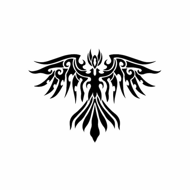 Phoenix bird logo tribal tattoo design stencil vectorillustratie